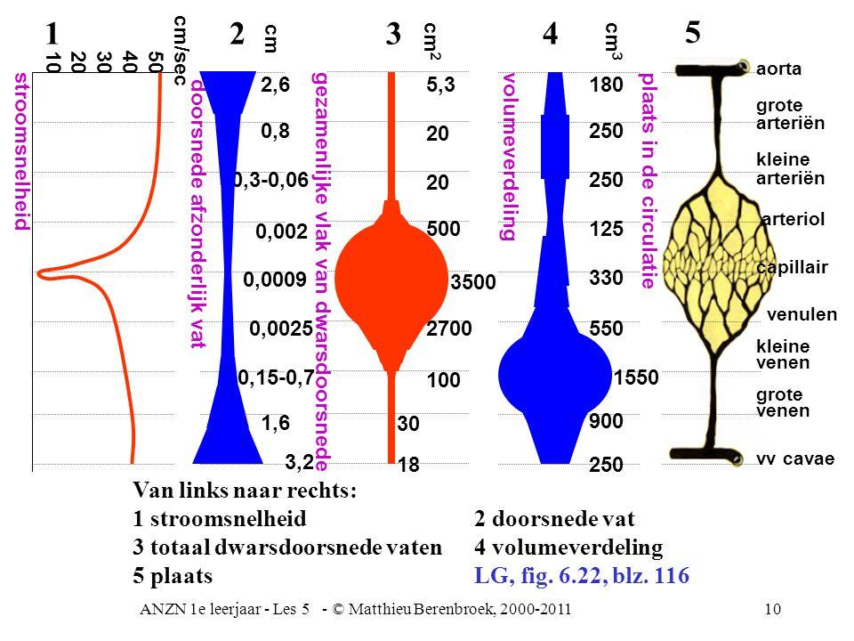 ANZN 1e leerjaar - Les 5 - © Matthieu Berenbroek, 2000-201110 Van links naar rechts: 1 stroomsnelheid 2 doorsnede vat 3 totaal dwarsdoorsnede vaten 4