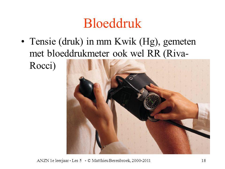 ANZN 1e leerjaar - Les 5 - © Matthieu Berenbroek, 2000-201118 Bloeddruk Tensie (druk) in mm Kwik (Hg), gemeten met bloeddrukmeter ook wel RR (Riva- Ro