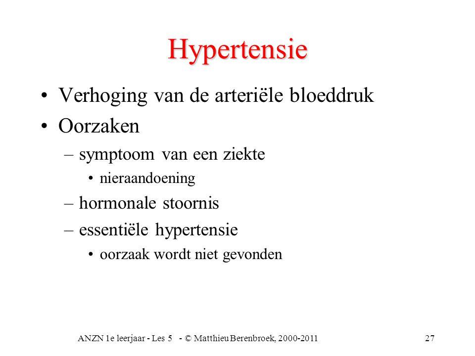 ANZN 1e leerjaar - Les 5 - © Matthieu Berenbroek, 2000-201127 Hypertensie Verhoging van de arteriële bloeddruk Oorzaken –symptoom van een ziekte niera
