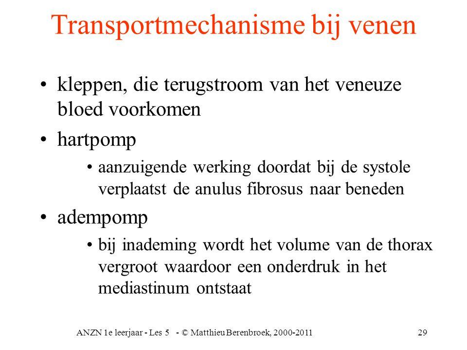 ANZN 1e leerjaar - Les 5 - © Matthieu Berenbroek, 2000-201129 Transportmechanisme bij venen kleppen, die terugstroom van het veneuze bloed voorkomen h