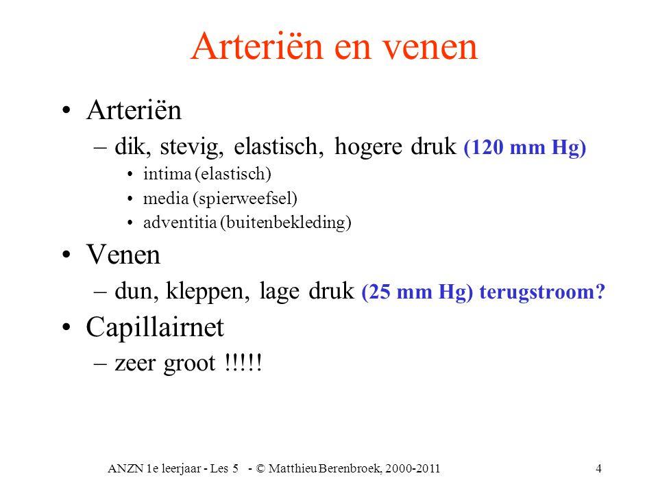 ANZN 1e leerjaar - Les 5 - © Matthieu Berenbroek, 2000-20114 Arteriën en venen Arteriën –dik, stevig, elastisch, hogere druk (120 mm Hg) intima (elast