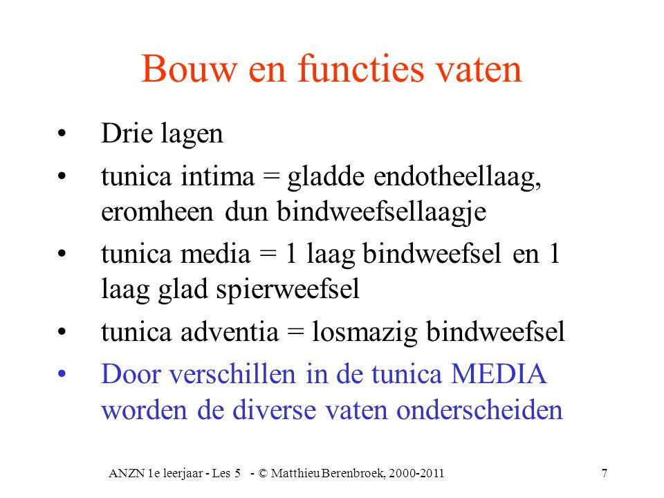 ANZN 1e leerjaar - Les 5 - © Matthieu Berenbroek, 2000-20118 Bouw en functies vaten 2 Elastische arteriën bindweefsel met veel elastinevezels en glad spierweefsel, transportfunctie Musculeuze arteriën minder elastisch bindweefsel en meer glad spierweefsel vasoconstrictie en vasodilatatie, distribuerende functie Arteriolen circulaire gladde spierlaag, vasodilatatie en vasoconstrictie, perifere weerstand Capillairen wand bestaat alleen maar uit endotheelcellen, semi- permeabele membraan, uitwisseling van allerlei stoffen.