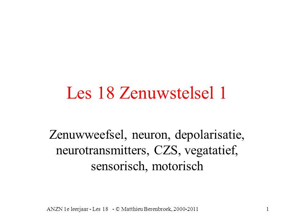 Les 18 Zenuwstelsel 1 Zenuwweefsel, neuron, depolarisatie, neurotransmitters, CZS, vegatatief, sensorisch, motorisch ANZN 1e leerjaar - Les 18 - © Matthieu Berenbroek, 2000-20111