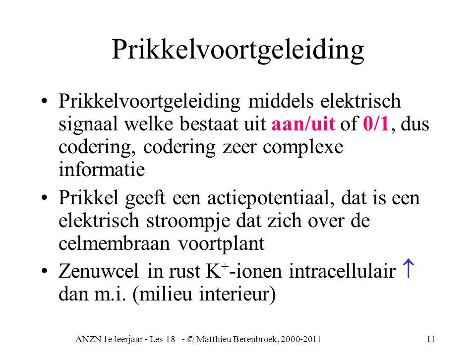ANZN 1e leerjaar - Les 18 - © Matthieu Berenbroek, 2000-201111 Prikkelvoortgeleiding Prikkelvoortgeleiding middels elektrisch signaal welke bestaat uit aan/uit of 0/1, dus codering, codering zeer complexe informatie Prikkel geeft een actiepotentiaal, dat is een elektrisch stroompje dat zich over de celmembraan voortplant Zenuwcel in rust K + -ionen intracellulair  dan m.i.