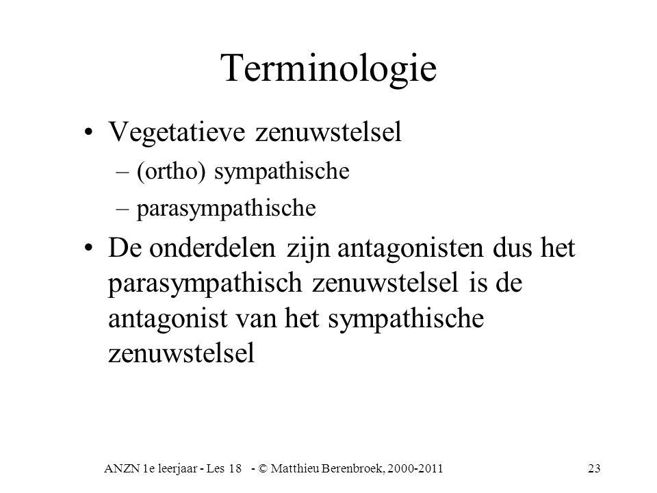 ANZN 1e leerjaar - Les 18 - © Matthieu Berenbroek, 2000-201123 Terminologie Vegetatieve zenuwstelsel –(ortho) sympathische –parasympathische De onderdelen zijn antagonisten dus het parasympathisch zenuwstelsel is de antagonist van het sympathische zenuwstelsel