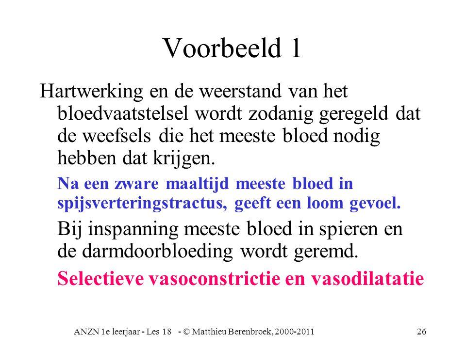 ANZN 1e leerjaar - Les 18 - © Matthieu Berenbroek, 2000-201126 Voorbeeld 1 Hartwerking en de weerstand van het bloedvaatstelsel wordt zodanig geregeld dat de weefsels die het meeste bloed nodig hebben dat krijgen.