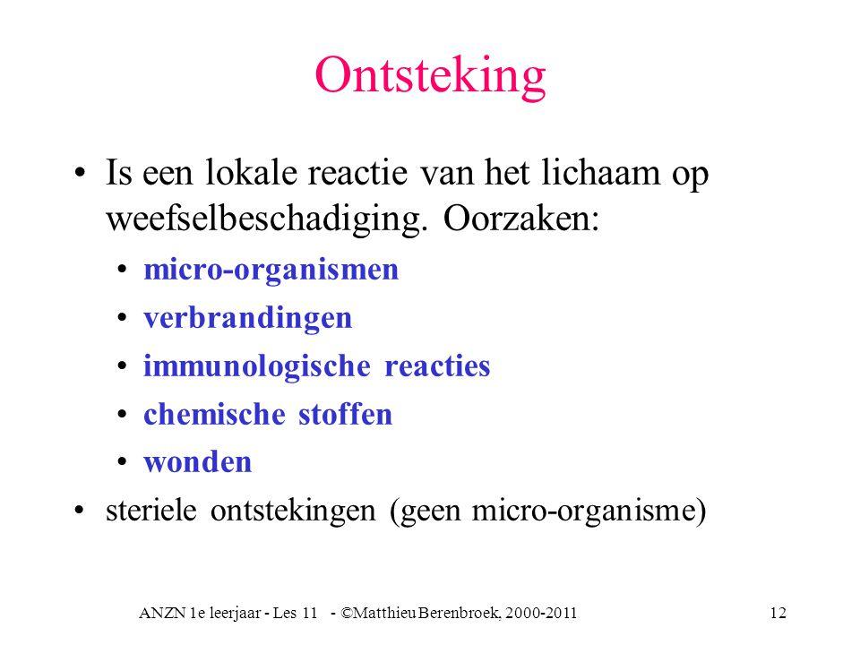 ANZN 1e leerjaar - Les 11 - ©Matthieu Berenbroek, 2000-201112 Ontsteking Is een lokale reactie van het lichaam op weefselbeschadiging. Oorzaken: micro