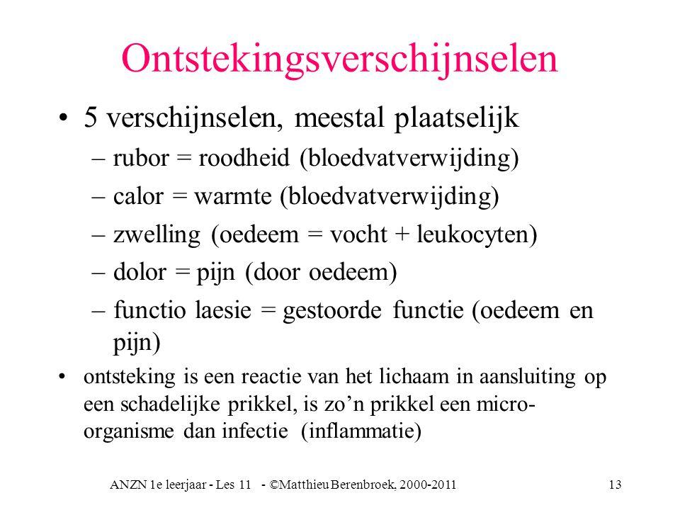 ANZN 1e leerjaar - Les 11 - ©Matthieu Berenbroek, 2000-201113 Ontstekingsverschijnselen 5 verschijnselen, meestal plaatselijk –rubor = roodheid (bloed