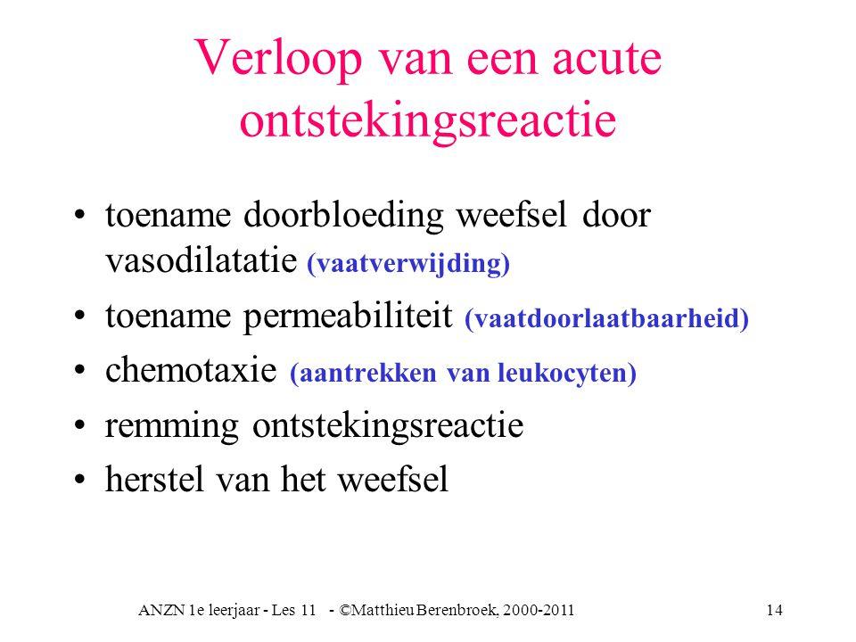 ANZN 1e leerjaar - Les 11 - ©Matthieu Berenbroek, 2000-201114 Verloop van een acute ontstekingsreactie toename doorbloeding weefsel door vasodilatatie