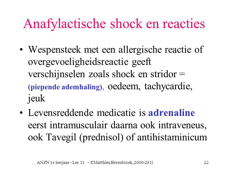 ANZN 1e leerjaar - Les 11 - ©Matthieu Berenbroek, 2000-201122 Anafylactische shock en reacties Wespensteek met een allergische reactie of overgevoelig
