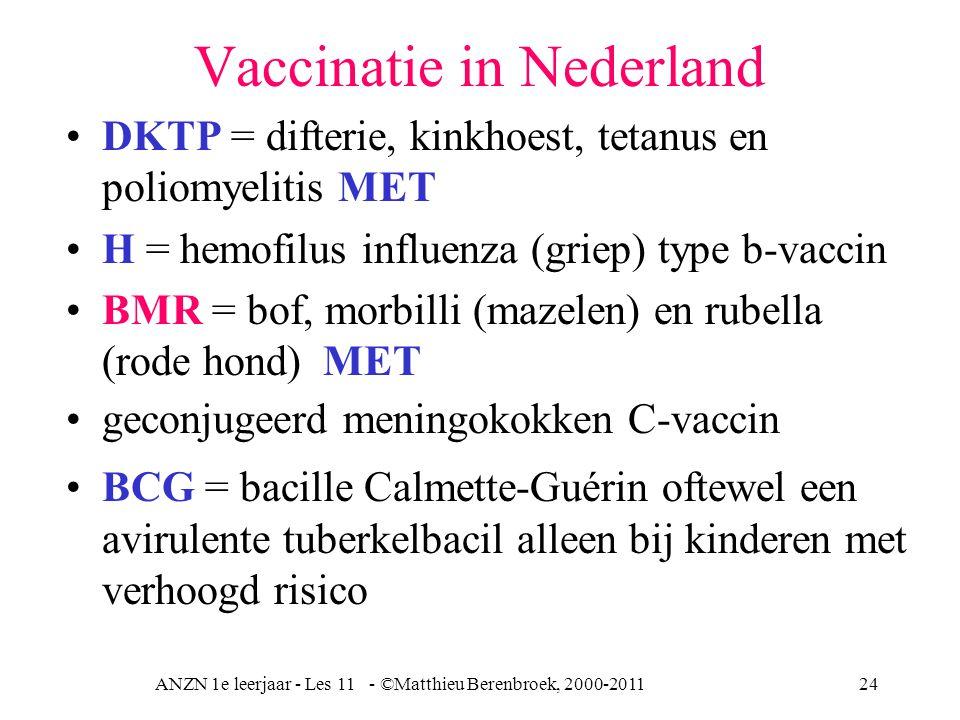 ANZN 1e leerjaar - Les 11 - ©Matthieu Berenbroek, 2000-201124 Vaccinatie in Nederland DKTP = difterie, kinkhoest, tetanus en poliomyelitis MET H = hem
