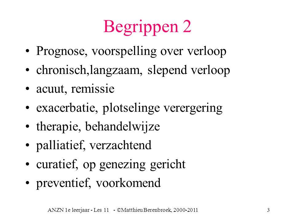 ANZN 1e leerjaar - Les 11 - ©Matthieu Berenbroek, 2000-20113 Begrippen 2 Prognose, voorspelling over verloop chronisch,langzaam, slepend verloop acuut