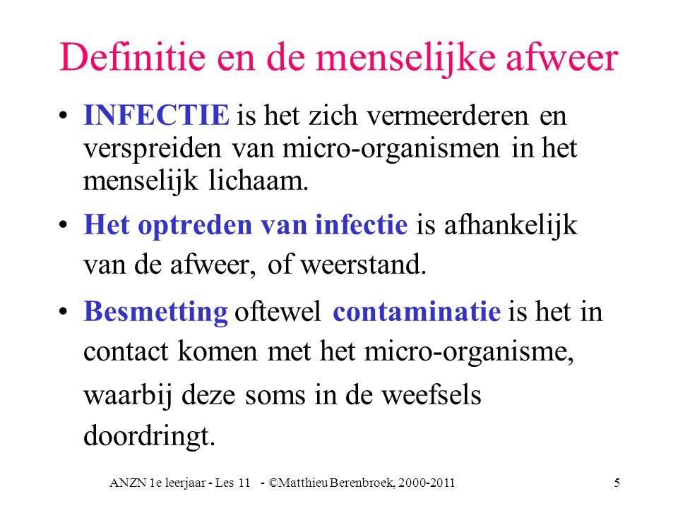 ANZN 1e leerjaar - Les 11 - ©Matthieu Berenbroek, 2000-201116 Afweer uitwendige afweer -huid en slijmvliezen -productie zuren inwendige afweer totale afweer humorale immuniteit cellulaire immuniteit - granulocyt - monocyten  macrofagen - Interferon (virussen) - complementsysteem specifieke afweerniet specifieke afweer