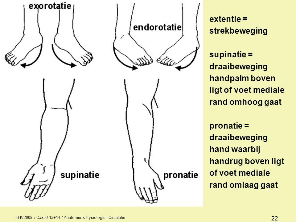 FHV2009 / Cxx53 13+14 / Anatomie & Fysiologie - Circulatie 22 extentie = strekbeweging supinatie = draaibeweging handpalm boven ligt of voet mediale r