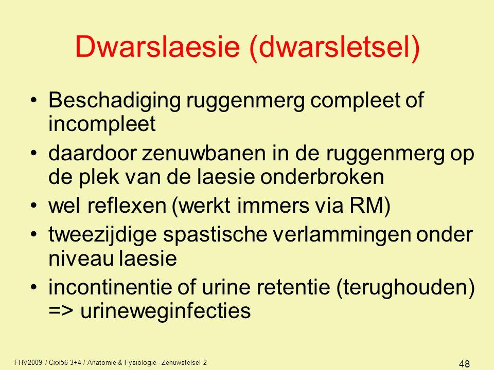 FHV2009 / Cxx56 3+4 / Anatomie & Fysiologie - Zenuwstelsel 2 48 Dwarslaesie (dwarsletsel) Beschadiging ruggenmerg compleet of incompleet daardoor zenu
