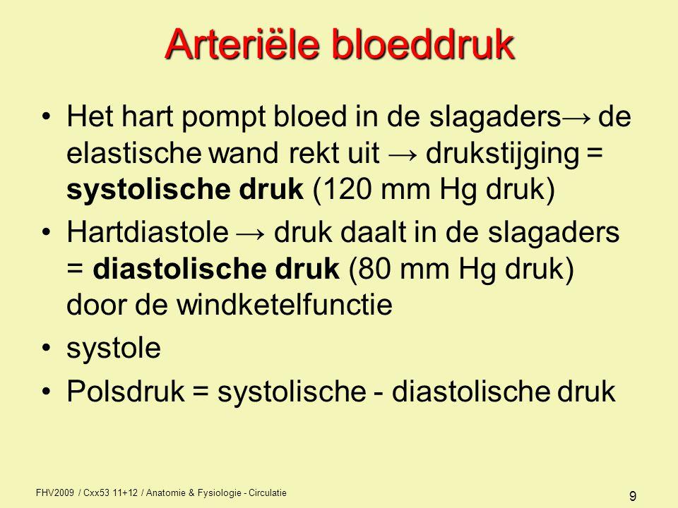 FHV2009 / Cxx53 11+12 / Anatomie & Fysiologie - Circulatie 10 Bloeddrukregulatie Bloedverdeling => Vasoconstrictie en vasodilatatie systolisch => hartkracht (f x SV) en vaatelasticiteit van de grote vaten (aorta) diastolisch => perifere weerstand en vulling vaatbed (inclusief samenstelling bloed)