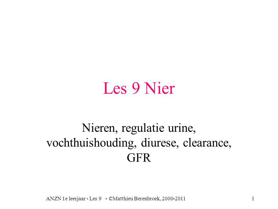 Les 9 Nier Nieren, regulatie urine, vochthuishouding, diurese, clearance, GFR ANZN 1e leerjaar - Les 9 - ©Matthieu Berenbroek, 2000-20111