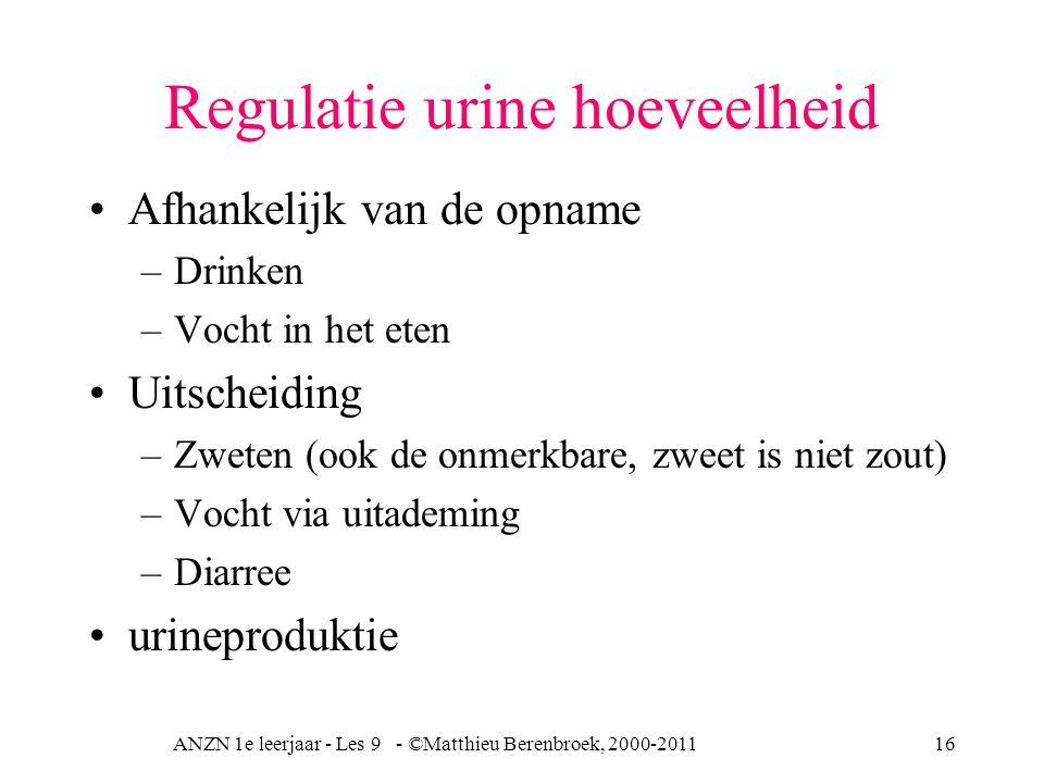 ANZN 1e leerjaar - Les 9 - ©Matthieu Berenbroek, 2000-201116 Regulatie urine hoeveelheid Afhankelijk van de opname –Drinken –Vocht in het eten Uitscheiding –Zweten (ook de onmerkbare, zweet is niet zout) –Vocht via uitademing –Diarree urineproduktie
