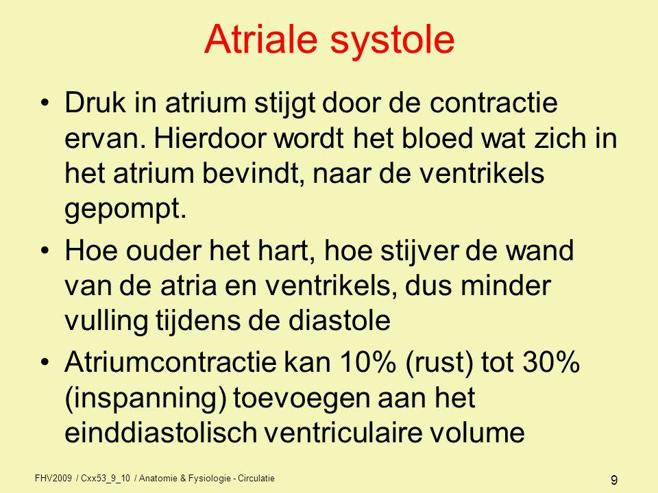 FHV2009 / Cxx53_9_10 / Anatomie & Fysiologie - Circulatie 29 Contractiliteit Is de kracht waarmee het hart samentrekt Contractiekracht hart hangt in 1e instantie af van de initiële spiervezellengte, aan het begin van de contractie