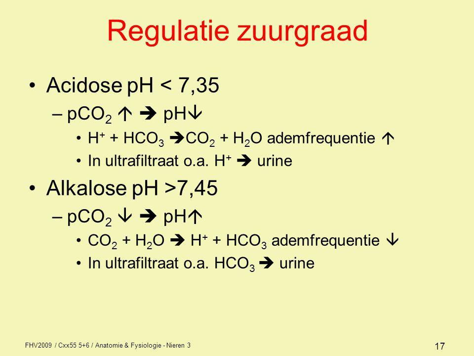 FHV2009 / Cxx55 5+6 / Anatomie & Fysiologie - Nieren 3 17 Regulatie zuurgraad Acidose pH < 7,35 –pCO 2   pH  H + + HCO 3  CO 2 + H 2 O ademfrequen