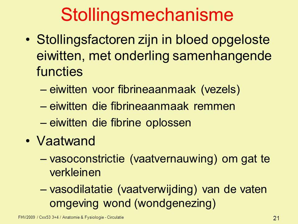 FHV2009 / Cxx53 3+4 / Anatomie & Fysiologie - Circulatie 21 Stollingsmechanisme Stollingsfactoren zijn in bloed opgeloste eiwitten, met onderling samenhangende functies –eiwitten voor fibrineaanmaak (vezels) –eiwitten die fibrineaanmaak remmen –eiwitten die fibrine oplossen Vaatwand –vasoconstrictie (vaatvernauwing) om gat te verkleinen –vasodilatatie (vaatverwijding) van de vaten omgeving wond (wondgenezing)
