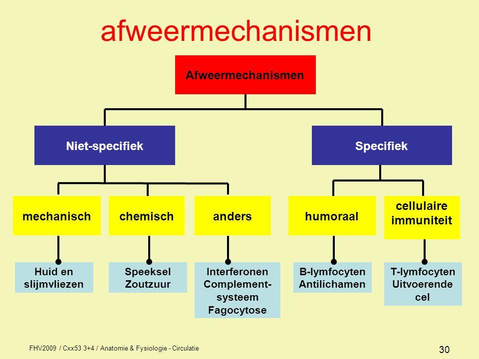 FHV2009 / Cxx53 3+4 / Anatomie & Fysiologie - Circulatie 30 afweermechanismen B-lymfocyten Antilichamen T-lymfocyten Uitvoerende cel Huid en slijmvliezen Speeksel Zoutzuur Interferonen Complement- systeem Fagocytose Afweermechanismen SpecifiekNiet-specifiek humoraal cellulaire immuniteit mechanischchemischanders