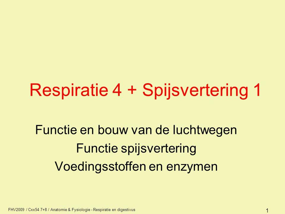 FHV2009 / Cxx54 7+8 / Anatomie & Fysiologie - Respiratie en digestivus 1 Respiratie 4 + Spijsvertering 1 Functie en bouw van de luchtwegen Functie spi