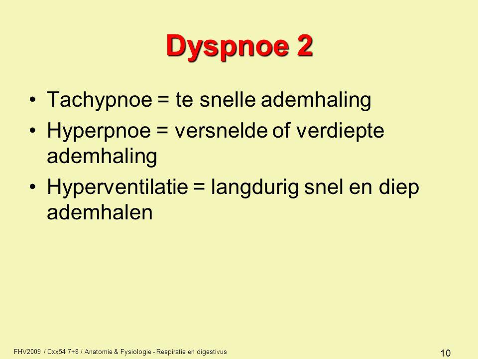 FHV2009 / Cxx54 7+8 / Anatomie & Fysiologie - Respiratie en digestivus 10 Dyspnoe 2 Tachypnoe = te snelle ademhaling Hyperpnoe = versnelde of verdiept
