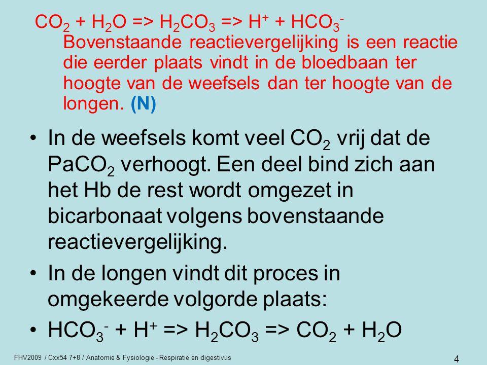 FHV2009 / Cxx54 7+8 / Anatomie & Fysiologie - Respiratie en digestivus 4 CO 2 + H 2 O => H 2 CO 3 => H + + HCO 3 - Bovenstaande reactievergelijking is