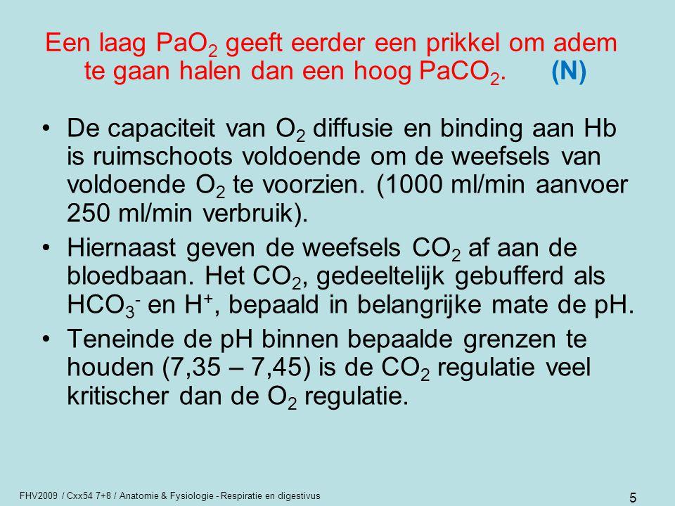 FHV2009 / Cxx54 7+8 / Anatomie & Fysiologie - Respiratie en digestivus 5 Een laag PaO 2 geeft eerder een prikkel om adem te gaan halen dan een hoog Pa