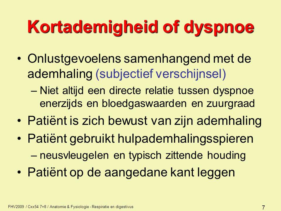 FHV2009 / Cxx54 7+8 / Anatomie & Fysiologie - Respiratie en digestivus 7 Kortademigheid of dyspnoe Onlustgevoelens samenhangend met de ademhaling (sub