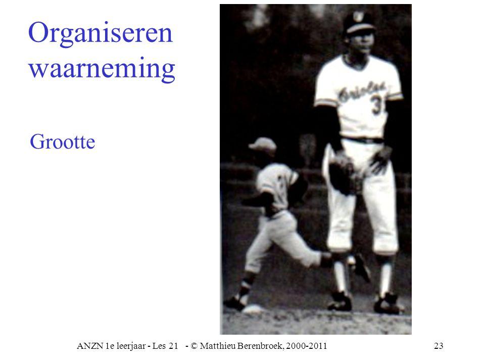 ANZN 1e leerjaar - Les 21 - © Matthieu Berenbroek, 2000-201124 Diepte Organiseren waarneming
