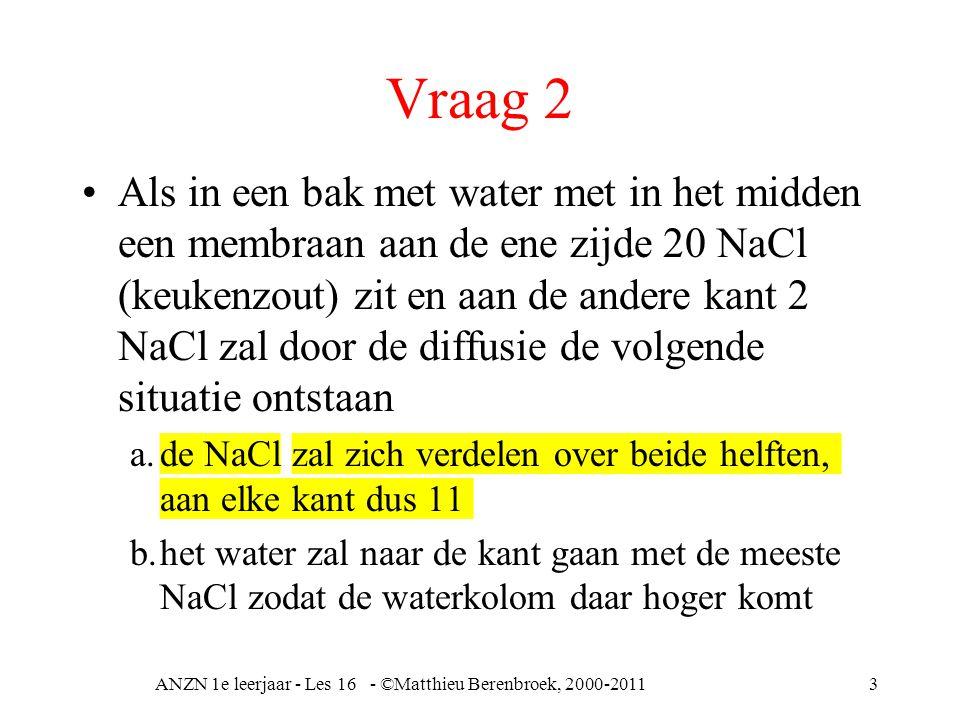 Vraag 2 Als in een bak met water met in het midden een membraan aan de ene zijde 20 NaCl (keukenzout) zit en aan de andere kant 2 NaCl zal door de diffusie de volgende situatie ontstaan a.de NaCl zal zich verdelen over beide helften, aan elke kant dus 11 b.het water zal naar de kant gaan met de meeste NaCl zodat de waterkolom daar hoger komt ANZN 1e leerjaar - Les 16 - ©Matthieu Berenbroek, 2000-20113