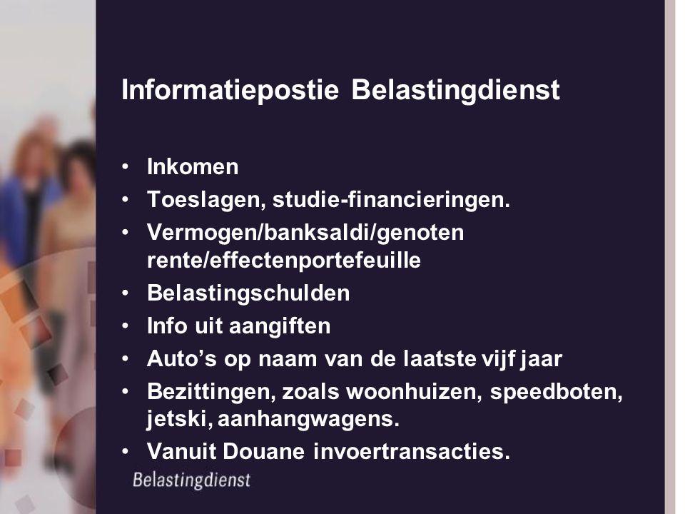 Informatiepostie Belastingdienst Inkomen Toeslagen, studie-financieringen. Vermogen/banksaldi/genoten rente/effectenportefeuille Belastingschulden Inf