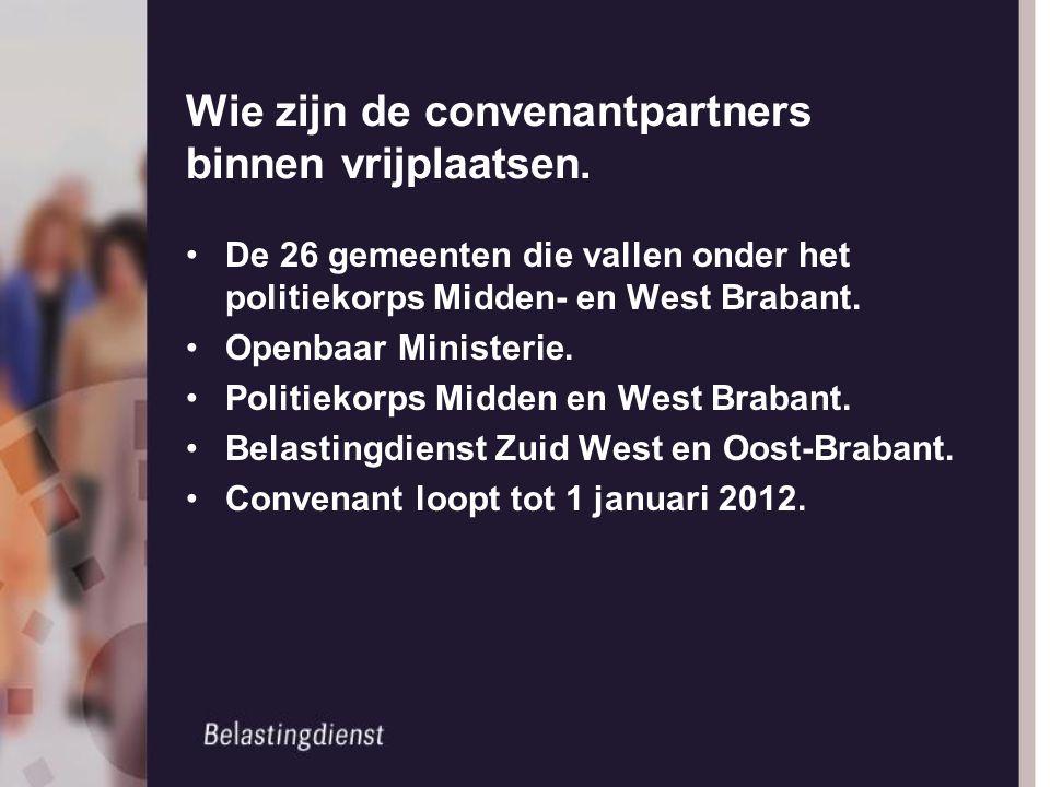 Wie zijn de convenantpartners binnen vrijplaatsen. De 26 gemeenten die vallen onder het politiekorps Midden- en West Brabant. Openbaar Ministerie. Pol