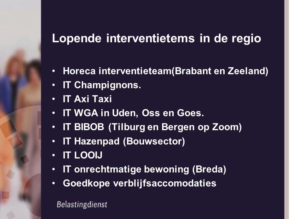 Lopende interventietems in de regio Horeca interventieteam(Brabant en Zeeland) IT Champignons. IT Axi Taxi IT WGA in Uden, Oss en Goes. IT BIBOB (Tilb