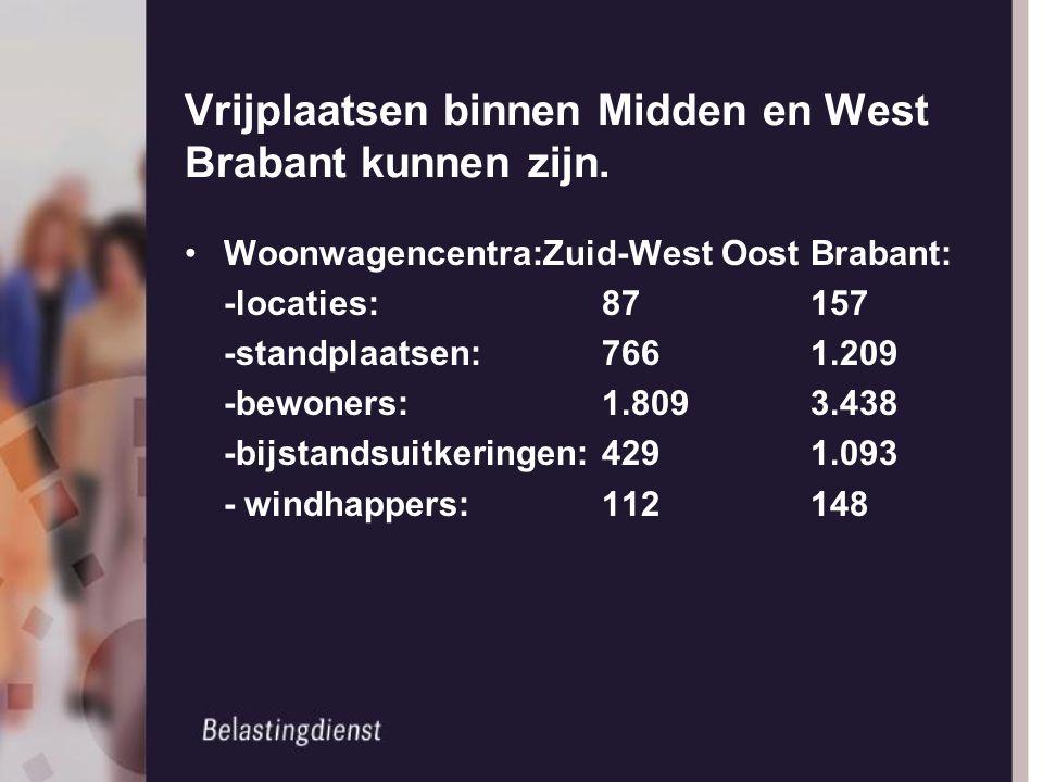 Vrijplaatsen binnen Midden en West Brabant kunnen zijn. Woonwagencentra:Zuid-West Oost Brabant: -locaties:87157 -standplaatsen:7661.209 -bewoners:1.80