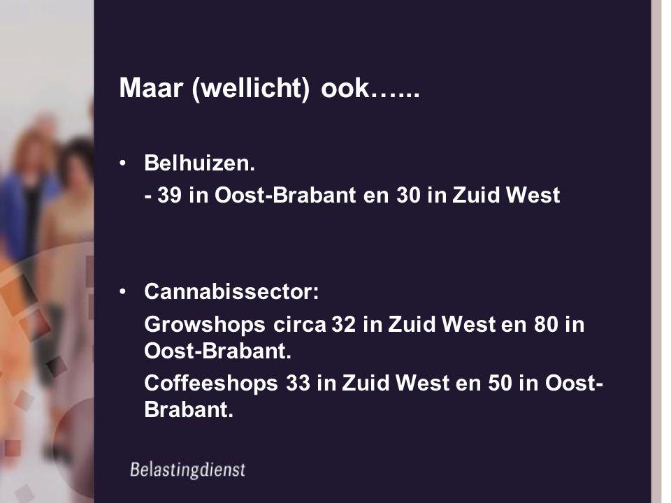 Maar (wellicht) ook…... Belhuizen. - 39 in Oost-Brabant en 30 in Zuid West Cannabissector: Growshops circa 32 in Zuid West en 80 in Oost-Brabant. Coff
