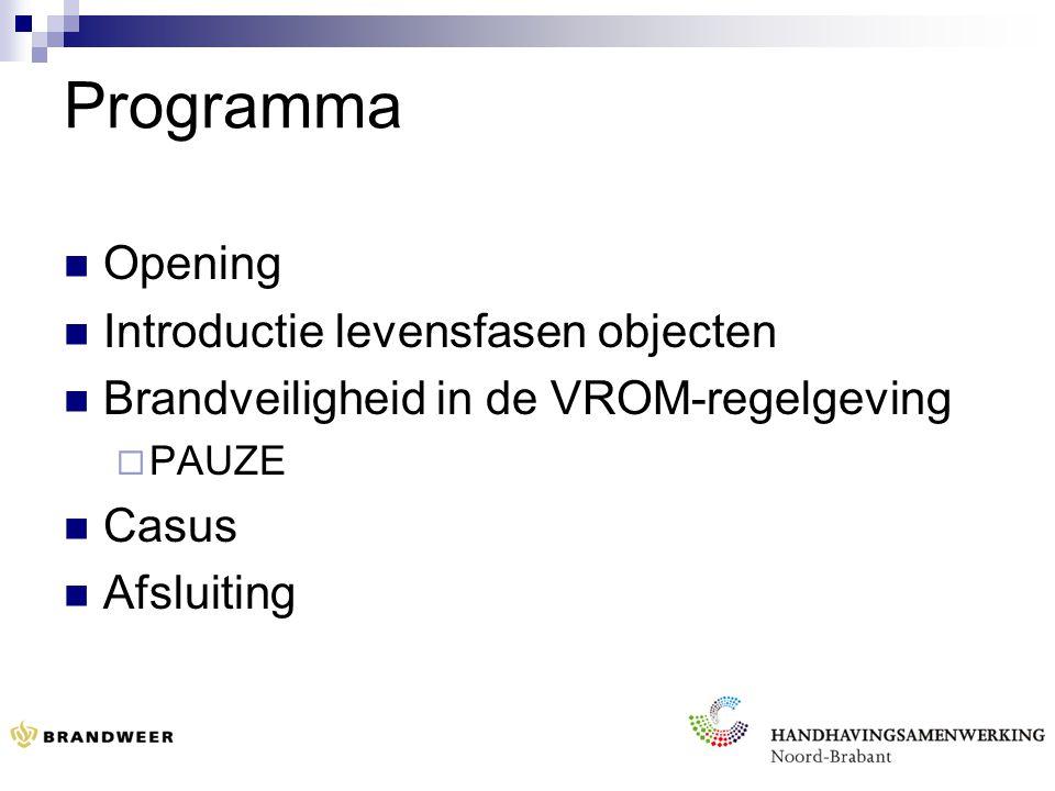 Programma Opening Introductie levensfasen objecten Brandveiligheid in de VROM-regelgeving  PAUZE Casus Afsluiting