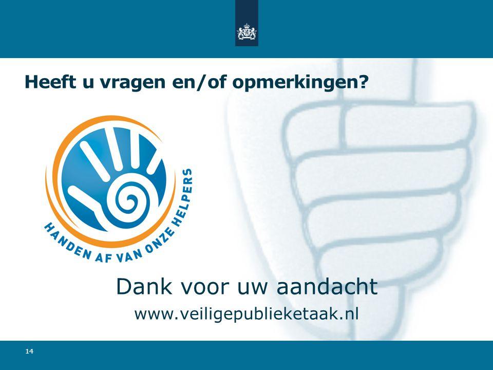 Heeft u vragen en/of opmerkingen? Dank voor uw aandacht www.veiligepublieketaak.nl 14