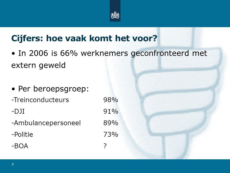 Cijfers: hoe vaak komt het voor? In 2006 is 66% werknemers geconfronteerd met extern geweld Per beroepsgroep: -Treinconducteurs98% -DJI91% -Ambulancep