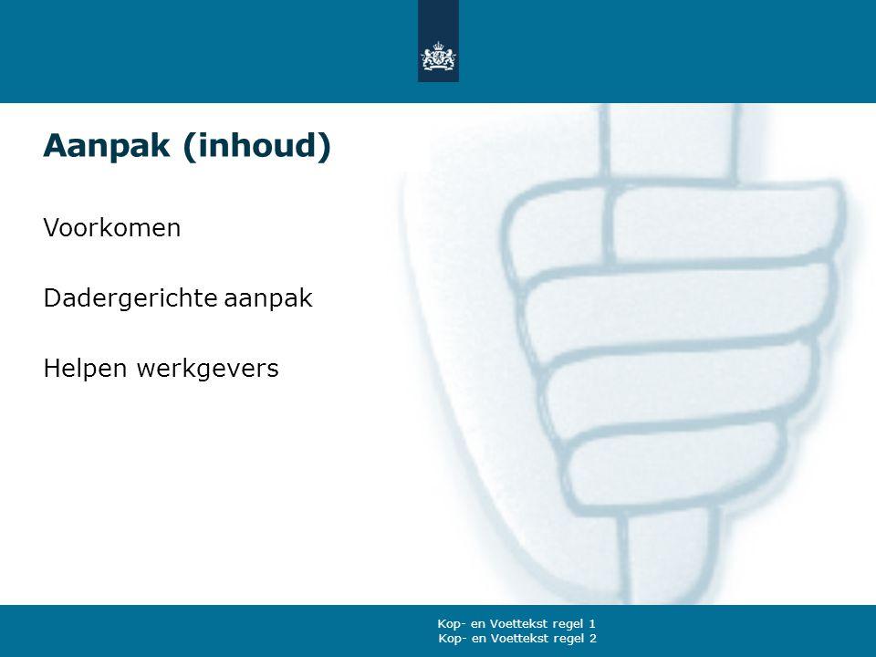 Aanpak (inhoud) Voorkomen Dadergerichte aanpak Helpen werkgevers Kop- en Voettekst regel 2 Kop- en Voettekst regel 1