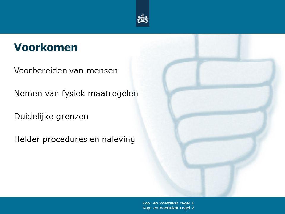 Voorkomen Voorbereiden van mensen Nemen van fysiek maatregelen Duidelijke grenzen Helder procedures en naleving Kop- en Voettekst regel 2 Kop- en Voet