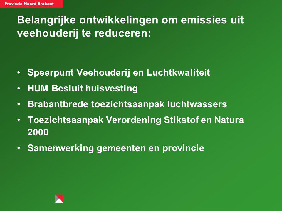 Belangrijke ontwikkelingen om emissies uit veehouderij te reduceren: Speerpunt Veehouderij en Luchtkwaliteit HUM Besluit huisvesting Brabantbrede toezichtsaanpak luchtwassers Toezichtsaanpak Verordening Stikstof en Natura 2000 Samenwerking gemeenten en provincie