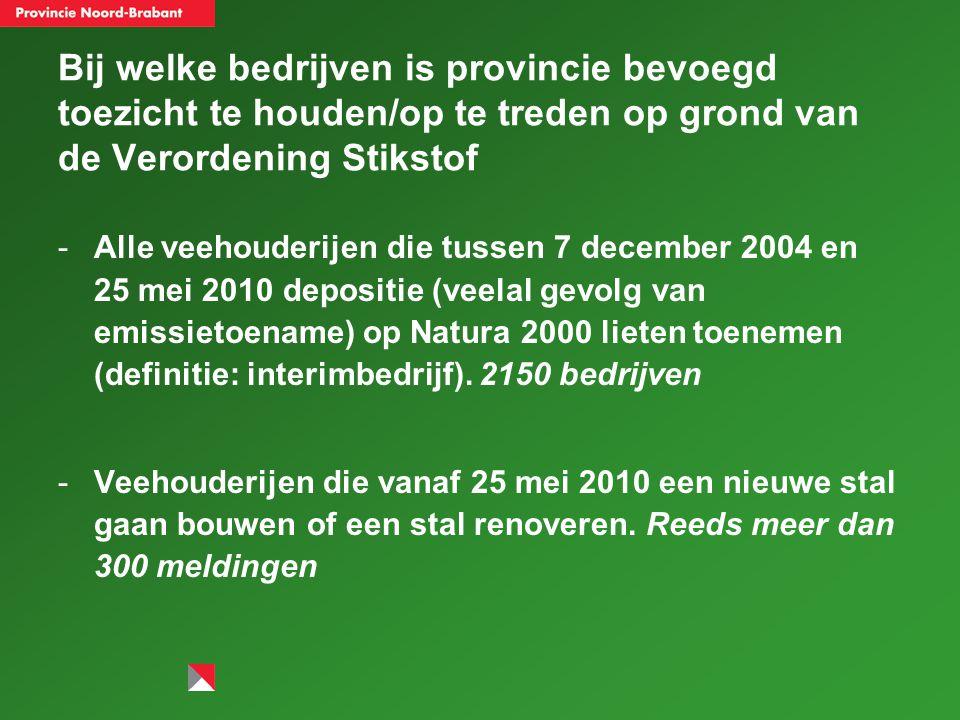Bij welke bedrijven is provincie bevoegd toezicht te houden/op te treden op grond van de Verordening Stikstof -Alle veehouderijen die tussen 7 december 2004 en 25 mei 2010 depositie (veelal gevolg van emissietoename) op Natura 2000 lieten toenemen (definitie: interimbedrijf).