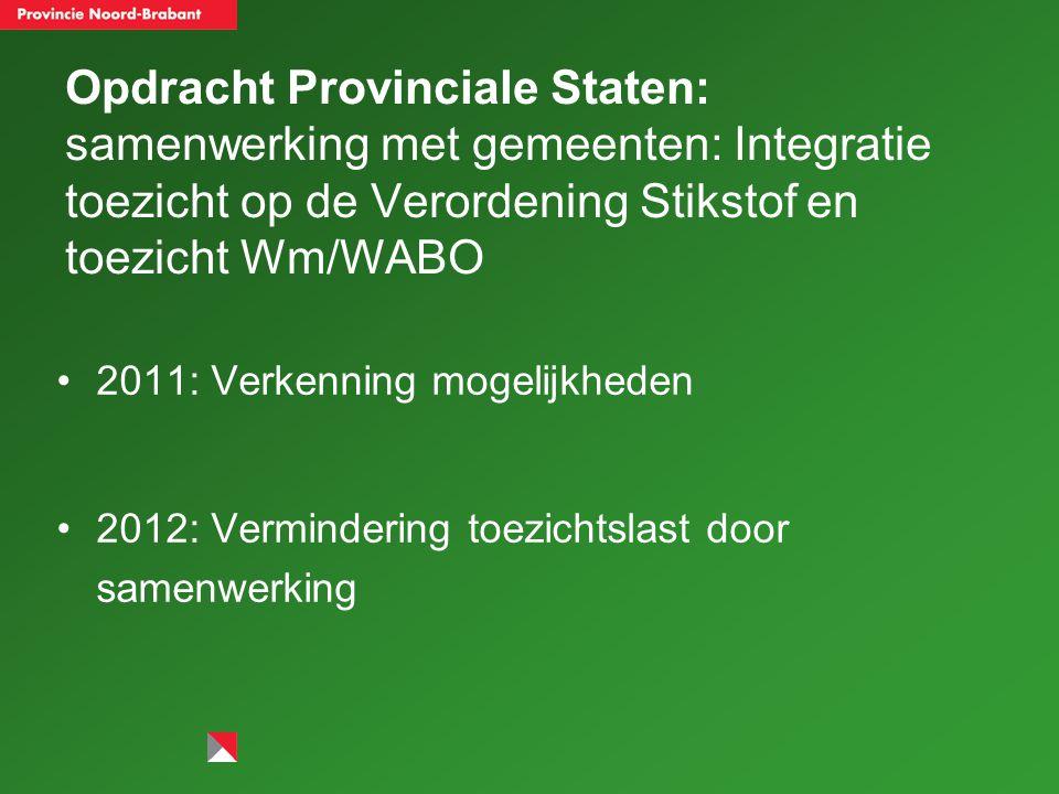 Opdracht Provinciale Staten: samenwerking met gemeenten: Integratie toezicht op de Verordening Stikstof en toezicht Wm/WABO 2011: Verkenning mogelijkheden 2012: Vermindering toezichtslast door samenwerking