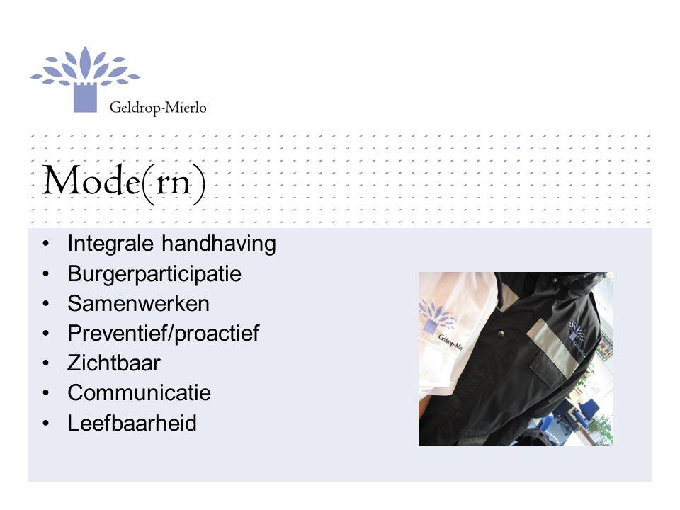 Mode(rn) Integrale handhaving Burgerparticipatie Samenwerken Preventief/proactief Zichtbaar Communicatie Leefbaarheid