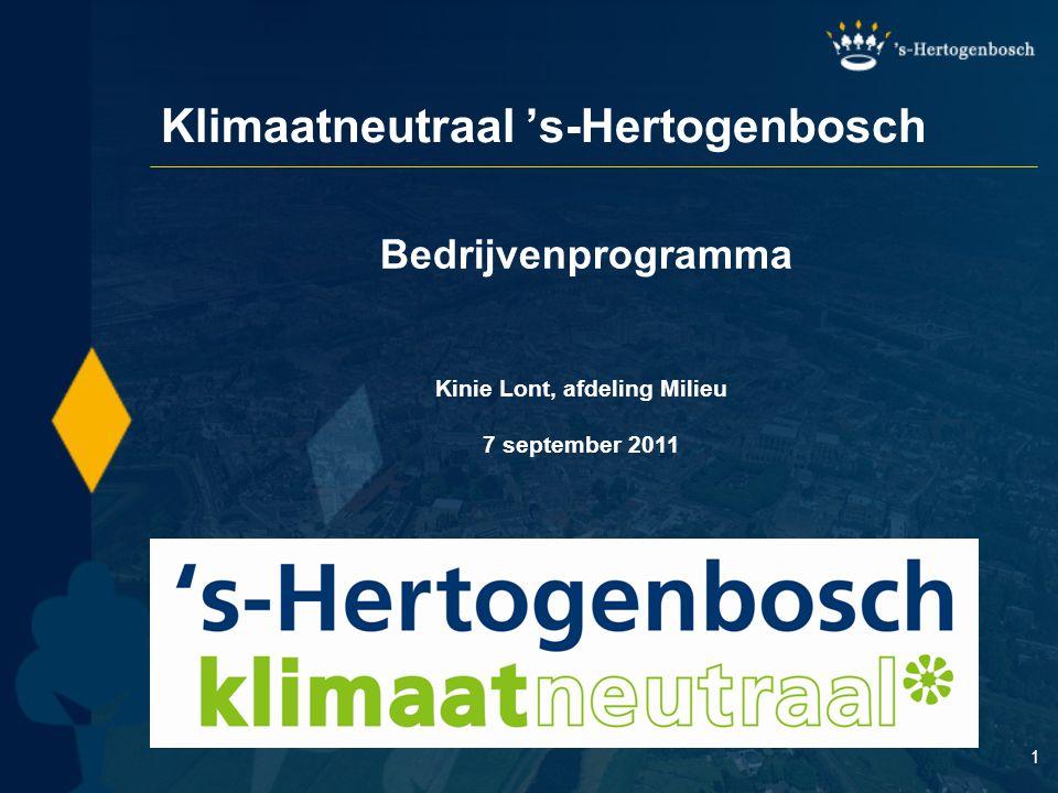 1 Bedrijvenprogramma Kinie Lont, afdeling Milieu 7 september 2011 Klimaatneutraal 's-Hertogenbosch