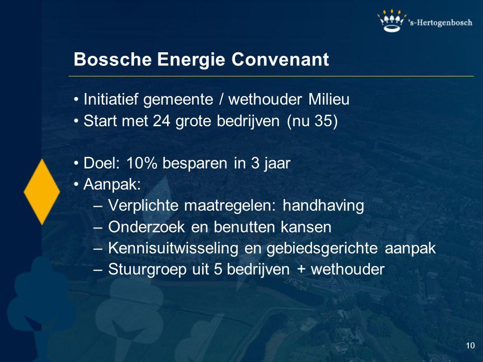 10 Bossche Energie Convenant Initiatief gemeente / wethouder Milieu Start met 24 grote bedrijven (nu 35) Doel: 10% besparen in 3 jaar Aanpak: – Verpli