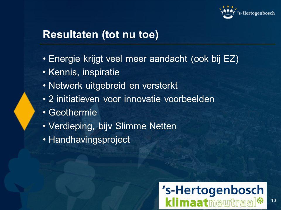 13 Resultaten (tot nu toe) Energie krijgt veel meer aandacht (ook bij EZ) Kennis, inspiratie Netwerk uitgebreid en versterkt 2 initiatieven voor innov